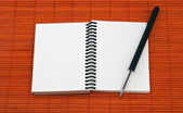 Open notebook with pen — Stock Photo