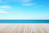 Wooden floor and sky — Stock Photo