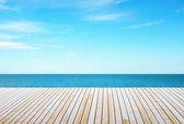 Wooden floor and sky — Stock Photo