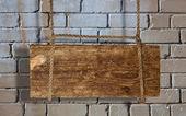 Brick wall and signboard — Stock Photo