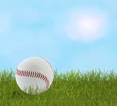 Honkbal in gras — Stockfoto