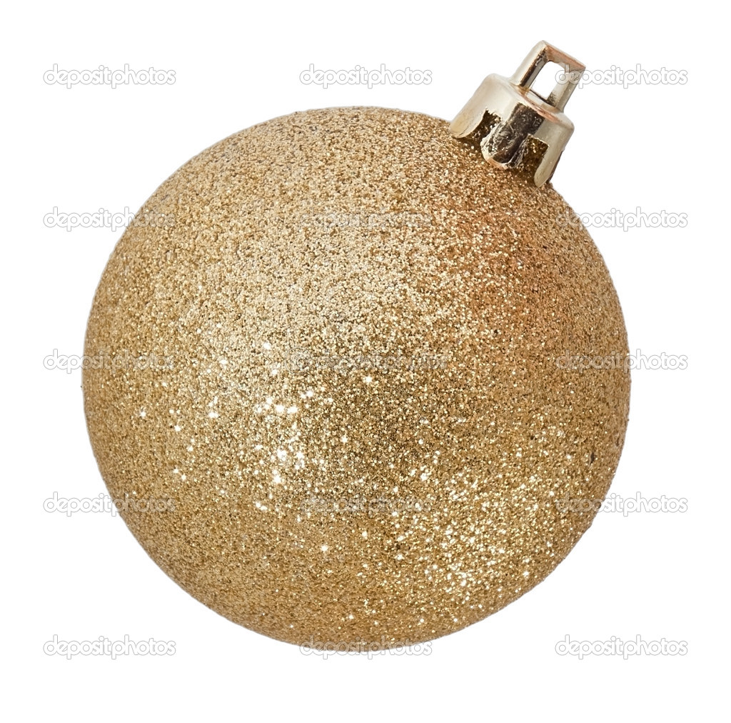 Golden ball christmas toy on white — Stock Photo #9216134