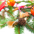 Stock Photo: Decorated fir tree