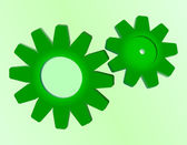 Cogwheel as blue and green background — Stock Vector