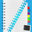 Two parts of spiral notepad list with photo card and bookmarks — Stock Vector