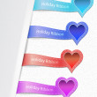 Set of the ribbons with heart label  — Stock Vector