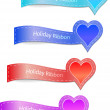 Set of the ribbons with heart label — Stock Vector #9555572