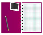 Violet working notepad with attached photo card and pencil — Stock Vector
