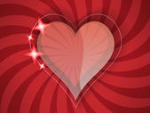 Heart on the spiral background — Vector de stock