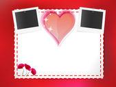 Pohlednice s fotografické karty a srdce — Stock vektor