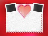 Biglietto di auguri con cartoline fotografiche e cuore — Vettoriale Stock