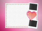 Postcard with photo cards and heart — Vector de stock