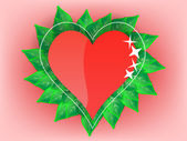 Heart with green leaves — Vector de stock