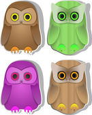 Set of funny owls — Stock Vector