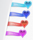 Set of the ribbons with heart label — ストックベクタ