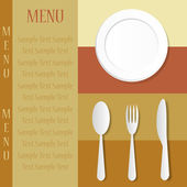 Restaurant menu with knife, spoon, fork and plate — Stock Vector