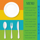 Silverware on the menu card — Stock Vector
