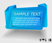 Blue advertising label in origami style — Stockvector