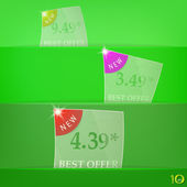 Price glass labels on the shelf — Stock Vector