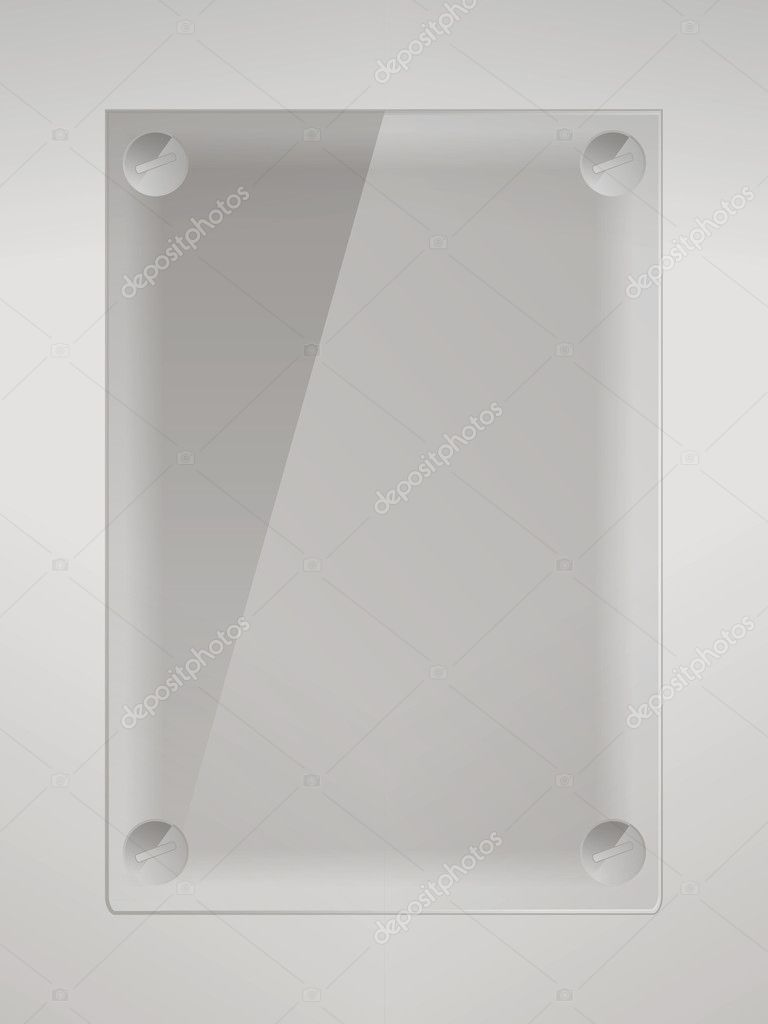 Empty glass label on the wall with place for text  — Stock Vector #9554842