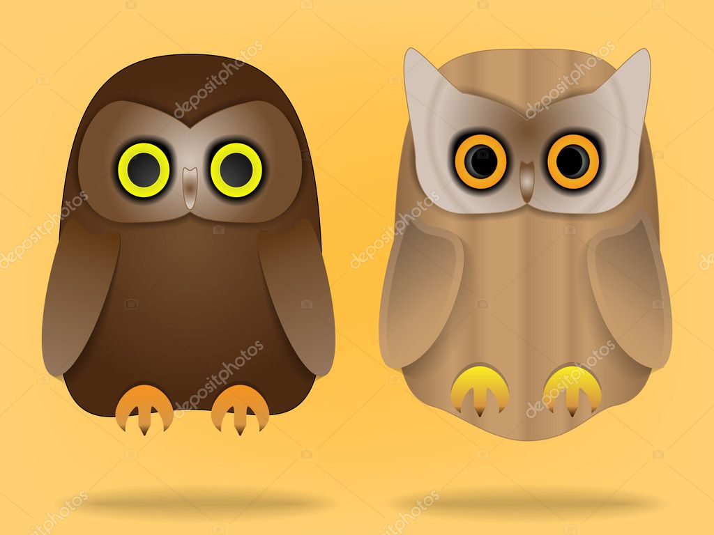 Two cute owls  — Stock Vector #9555250