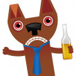 Drunk Dog Character Illustration - Stock Vector