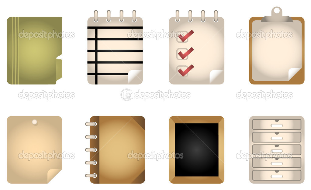 8 folders & files Vector Web Icons. — Stock Vector #8388893