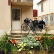 Stock Photo: Tonnerre. Two bicycles at entrance to house