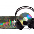 Stock Photo: Headphone and cd collection isolated on white background