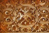 Wood carved ornament on the wall of Christian church — Stock Photo