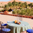 Breakfast in the Desert on the roof — Stock Photo