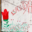 Graffiti on the white wall in Essaouira — Stock Photo