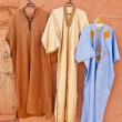 Djellaba - traditional long, loose-fitting unisex outer robe. - Stock Photo