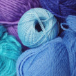 Set of balls of threads of dark blue shades - Stock Photo