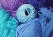Set of balls of threads of dark blue shades — Stock Photo