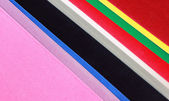 Strips of a color paper and cardboard from a velvet — Stock Photo