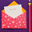 Beautiful pink envelope with a note inside — Стоковая фотография