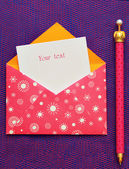 Beautiful pink envelope with a note inside — 图库照片