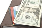 U.S. dollars and credit cards — Stock Photo