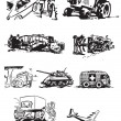 Stockvektor : Vintage vehicles