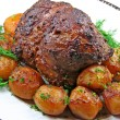 Roast leg of lamb - Stock Photo