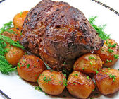 Roast leg of lamb — Stockfoto