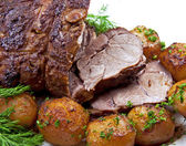 Roast leg of lamb — Stock Photo