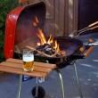 Stock Photo: Grill and beer