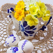 Still life with Easter eggs on lace doily — Foto Stock #8352798