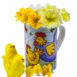 Easter chickens and flowers.Isolated. — Stock Photo #8352802