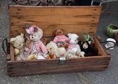 Old teddy bears. Flea market. — Stock Photo