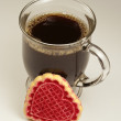 Valentine's day coffee and cookie. - Stock Photo