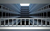 Square atrium with balconies and columns — Foto Stock