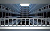 Square atrium with balconies and columns — Stock Photo
